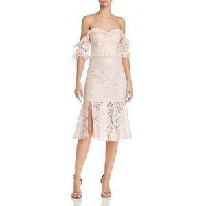 Provoke Ruffled Lace Off The Shoulder  Midi Dress